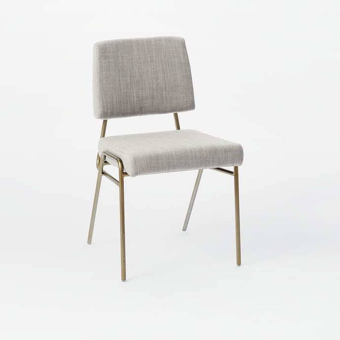 """Wire frame upholstered **dining chair** in platinum, $199m from [West Elm](http://www.westelm.com.au/wire-frame-dining-chair-platinum-antique-brass-h3183