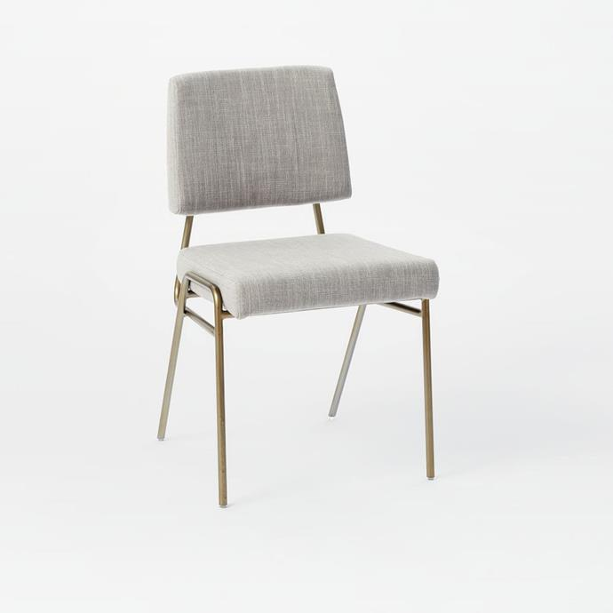 "Wire frame upholstered **dining chair** in platinum, $249, from [West Elm](http://www.westelm.com.au/wire-frame-dining-chair-platinum-antique-brass-h3183|target=""_blank""