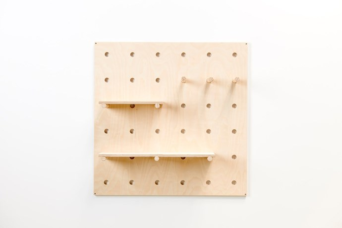 """'Bang Bang' wooden **pegboard**, $384, from [George & Willy](https://www.georgeandwilly.com/products/bang-bang-pegboard