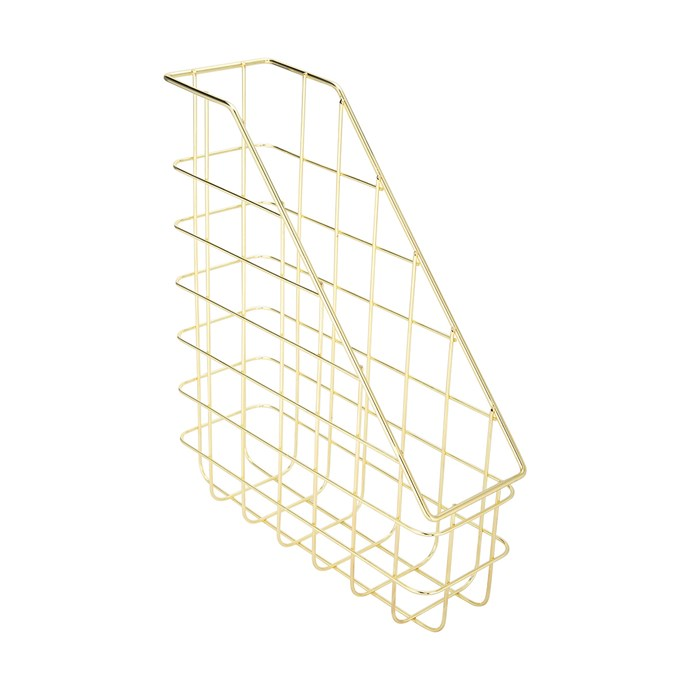 """Gold look wire **magazine file**, $6, from [Kmart](https://www.kmart.com.au/product/gold-look-wire-magazine-file/1887314