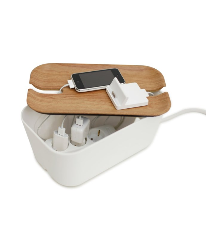 """Bosign hideaway **cable organiser** in white, $49.95, from [Hunting for George](https://fave.co/2AzKWlY