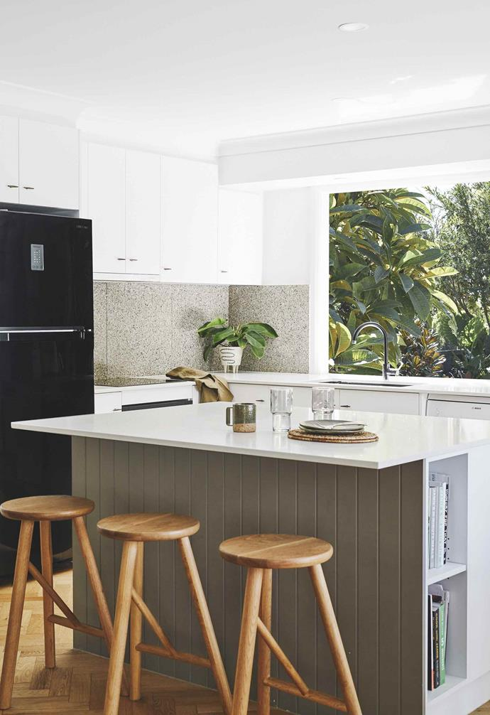 """**Kitchen** 'Earth' honed terrazzo tiles from Fibonacci Stone and Quantum Quartz benchtops in White Swirl from [Gold Coast Marble & Granite](https://www.goldcoastmarbleandgranite.com.au/