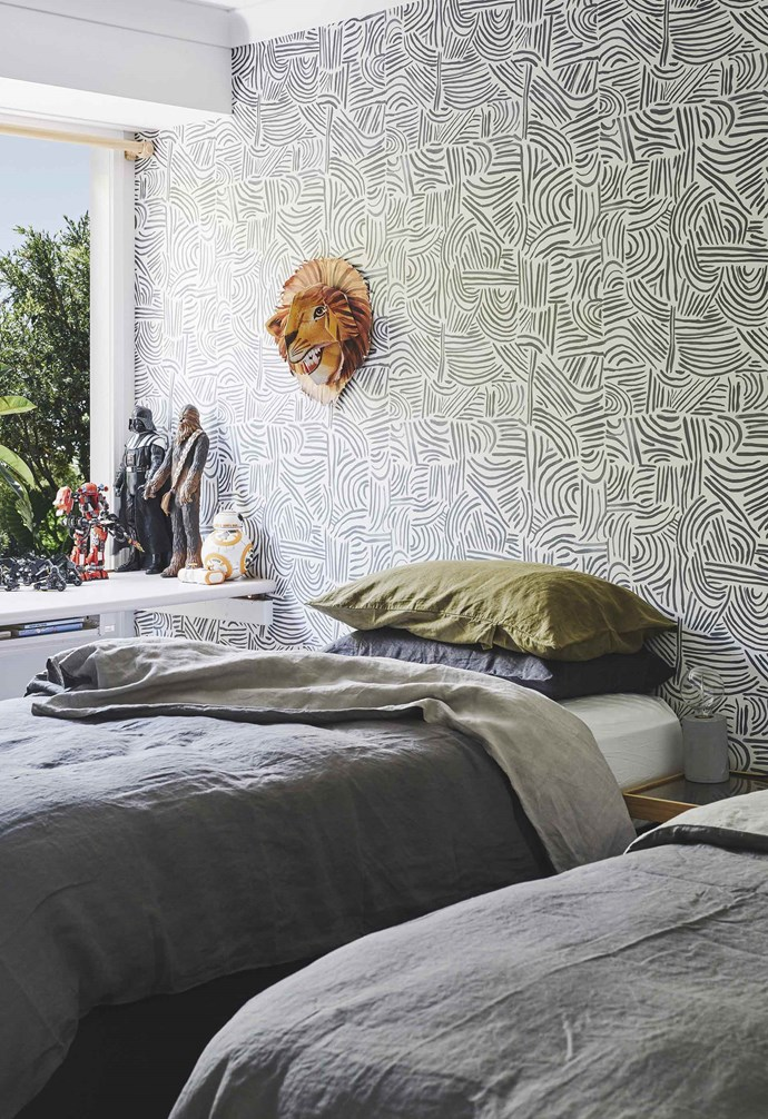 "**Kids' bedroom** The boys share a room boasting single beds with [I Love Linen](https://www.ilovelinen.com.au/|target=""_blank""