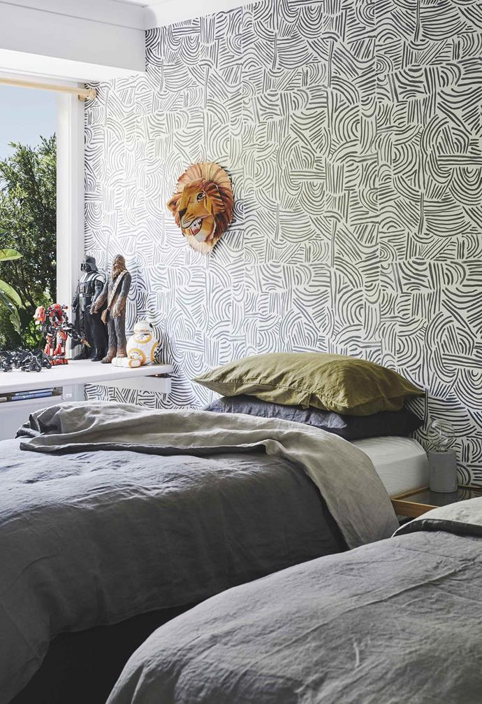 """**Kids' bedroom** The boys share a room boasting single beds with [I Love Linen](https://www.ilovelinen.com.au/