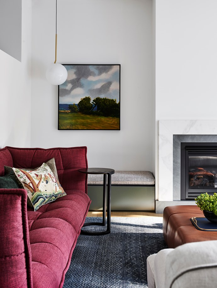 B&B Italia 'Husk' sofa and leather 'Tufty-Time' ottoman. Artwork by Alan Jones from Olsen Gallery.