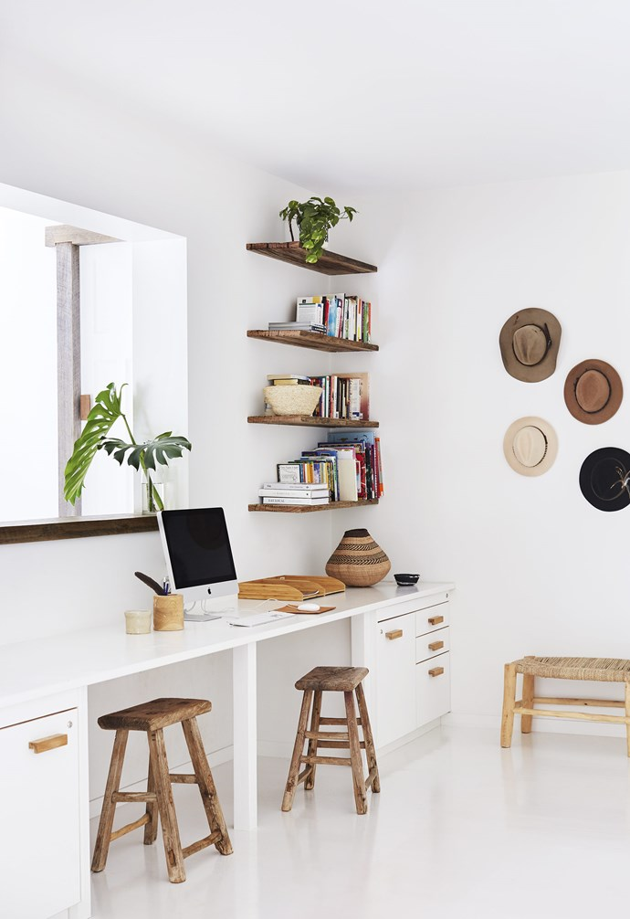 "**Build it in** [Custom joinery](https://www.homestolove.com.au/custom-joinery-storage-solutions-for-every-home-18234|target=""_Blank"") doesn't have to break the bank, and when it comes to creating a home office, it can be well worth it. Built-in shelves are simple solution that doesn't require too much space for storage of office books and knick-knacks, and they also function as simple display spaces. The ample width of the desk in [this stunning Byron Bay home](https://www.homestolove.com.au/relaxed-all-white-byron-bay-home-with-upcycled-details-19266