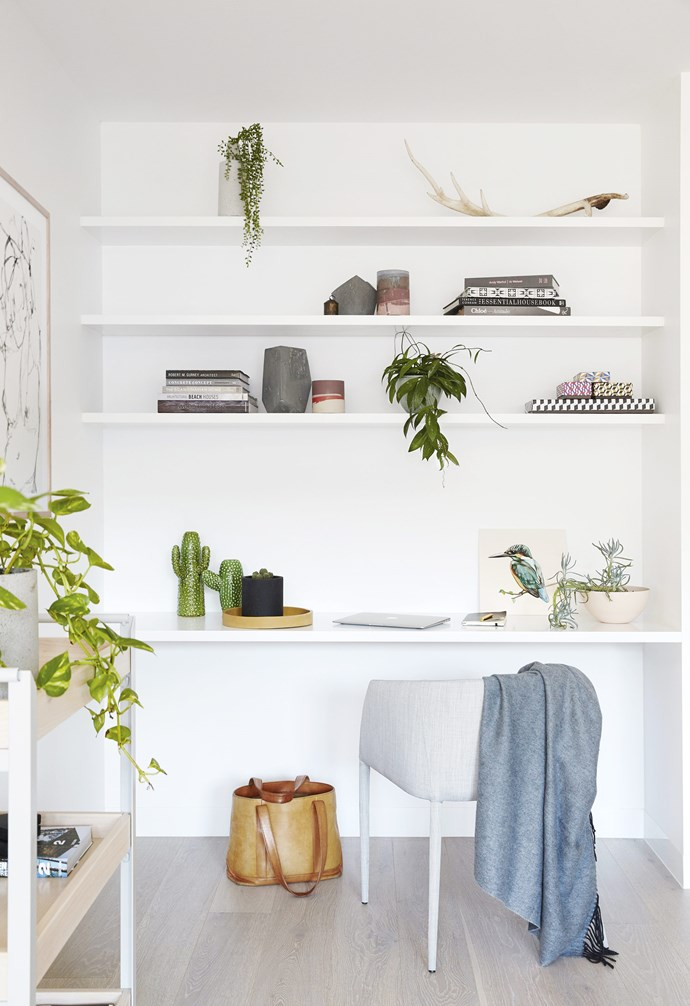 "**Spare nook** Make the most of the hidden nooks in your home and convert it into a home office space. In this [coastal holiday home](https://www.homestolove.com.au/coastal-holiday-home-19311|target=""_blank"") this study nook also functions as an extra space for storage and object display. *Styling: Julia Green 