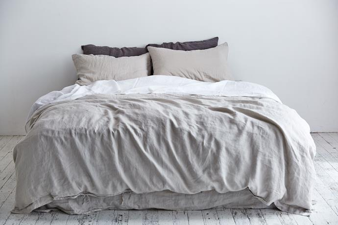You can't go wrong with calming, neutral coloured bedding in summer like IN BED's Cool Grey and Dove Grey linen (pictured).