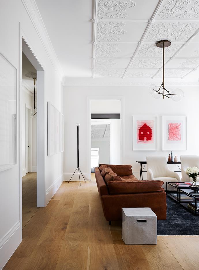Maxalto 'Kalos' armchairs and DePadova 'Square 16' sofa. Aleks Danko prints.