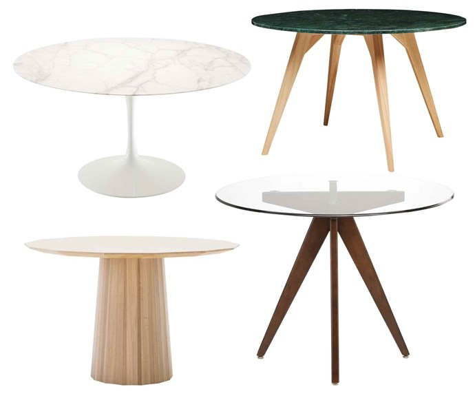 "**Round tables** Eliminating corners from a table permits easy movement around a room and still allows for seating. **Get the look** (clockwise left to right) Knoll Studio 'Saarinen Tulip' dining table, $7570, [Dedece](http://dedece.com/|target=""_blank""