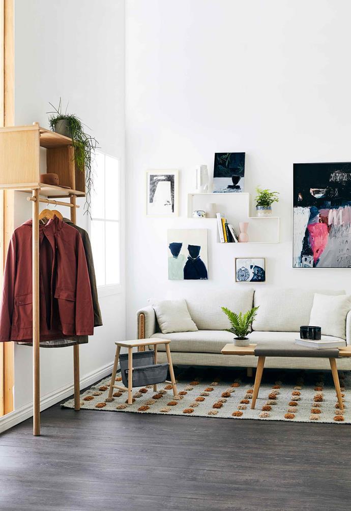 "**Living area** Woud 'Tojbox' entry storage, $1520, [Luumo Design](https://luumodesign.com/|target=""_blank""|rel=""nofollow""). 'Vilto' storage stool, $32.99, [IKEA](https://www.ikea.com/|target=""_blank""|rel=""nofollow""). 'Bronte' sofa (with cushions), $1299, [Life Interiors](https://www.lifeinteriors.com.au/|target=""_blank""|rel=""nofollow""). Woud 'Baenk' bench, $1490, [Luumo Design](https://luumodesign.com/|target=""_blank""|rel=""nofollow""). Natalie Rosin 'Jardan Editions' candle (on bench), $145, [Jardan](https://www.jardan.com.au/|target=""_blank""|rel=""nofollow""). 'Monte #0713' rug, $3660/195cm x 295cm, [Pampa](https://pampa.com.au/|target=""_blank""|rel=""nofollow""). Gubi 'Mategot Dedal' shelves, $419, [Luumo Design](https://luumodesign.com/|target=""_blank""|rel=""nofollow""). *On top shelf, from left*: Natalie Rosin 'Collage' vase, $255, [Jardan](https://www.jardan.com.au/|target=""_blank""|rel=""nofollow""). A Body Of Water Series I artwork by Giorgia Balbac, $310, [Luumo Design](https://luumodesign.com/|target=""_blank""|rel=""nofollow""). *On middle shelves, from left*: Yvonne Terkildsen 'River Egg' vase, $149, [The DEA Store](https://thedeastore.com/|target=""_blank""|rel=""nofollow""). 'Cloud' tulip vase in Chalk, $39, Marmoset Found, marmosetfound.com.au. Public Holiday 'Gravity' planter, $89, [The DEA Store](https://thedeastore.com/|target=""_blank""|rel=""nofollow""). 'Cloud Bell' vase in Icy Pink (on bottom shelf), $49, [Marmoset Found](https://marmosetfound.com.au/|target=""_blank""|rel=""nofollow""). *Other artworks, clockwise from top left*: Black And White Ink On Paper artwork by Kyle Murrell, $385 (framed), [The DEA Store](https://thedeastore.com/|target=""_blank""|rel=""nofollow""). Surf On Dusk art print, $590 (framed), [Blacklist Studio](https://www.blackliststore.com.au/|target=""_blank""|rel=""nofollow""). Cactus Love artwork by Tania Mason, $440 (framed), [The DEA Store](https://thedeastore.com/|target=""_blank""|rel=""nofollow""). A Body Of Water Series II artwork by Giorgia Balbac, $4"