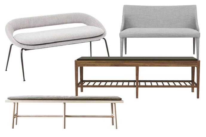 "**Slimeline** Keep things simple and replace chairs with benches. Extra guests are easy to fit in with these sleek options. **Get the look** (clockwise left to right) 'Orb' dining bench, $699, [West Elm](http://www.westelm.com.au/|target=""_blank""