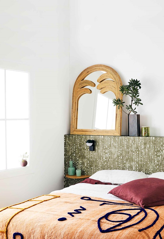 "**Bedroom** Bedhead covered with 'Cloudburst' wallpaper in Chairo, $76/m, [Quercus & Co](https://www.quercusandco.com/|target=""_blank""