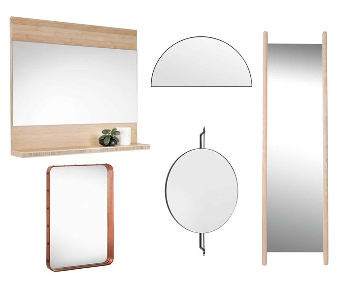 "**Mirror magic** A showpiece mirror in a compact zone can almost act as your artwork in the room, as well as doing its 'day' job. **Get the look** (clockwise left to right) Cibo 'Eco' bamboo mirror, $939, [Reece Bathrooms](https://www.reece.com.au/|target=""_blank""