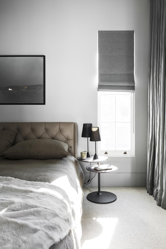 'Prive' bed by Santarossa for Pure Interiors with Ivano Redaelli bed linen from Montmartre Concept Store. Molteni 'Vicino' side table from Hub and Mondoluce 'Lucille' table lamps from Pure Interiors. Artwork by Lilli Waters from Curatorial+Co.