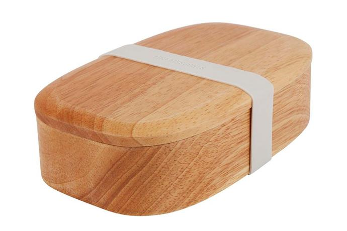 "'Thoughtful' wood lunch box, $49.95, [Mr & Mrs Jones](https://www.mrandmrsjones.com.au/|target=""_blank""
