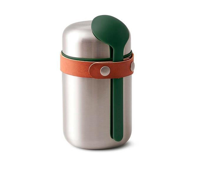 "Black + Blum food flask, $49.95, [Until](http://www.until.com.au/|target=""_blank""|rel=""nofollow"")."