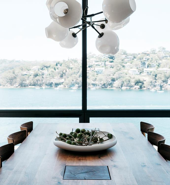 'Branching Bubble' chandelier from Lindsey Adelman keeps the look organic. Riva 1920 dining table and chairs, Fanuli. Designer buy: Rina Menardi 'Lagoon' platter, from $810, Ondene.