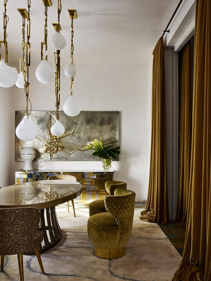 Christian Lyon incorporated a selection of sumptuous high-end pieces collected over time to this opulent Milanese inspired home in Melbourne's South Yarra. *Photograph*: Anson Smart. From *Belle* February/March 2019.