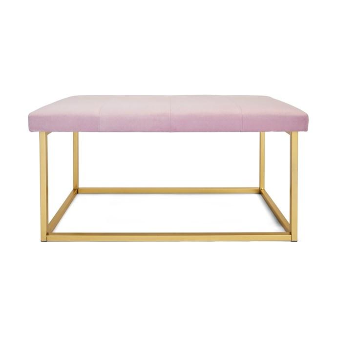 "Lilac [velvet bench](https://www.kmart.com.au/product/lilac-velvet-bench/2335310|target=""_blank""|rel=""nofollow""), $49."