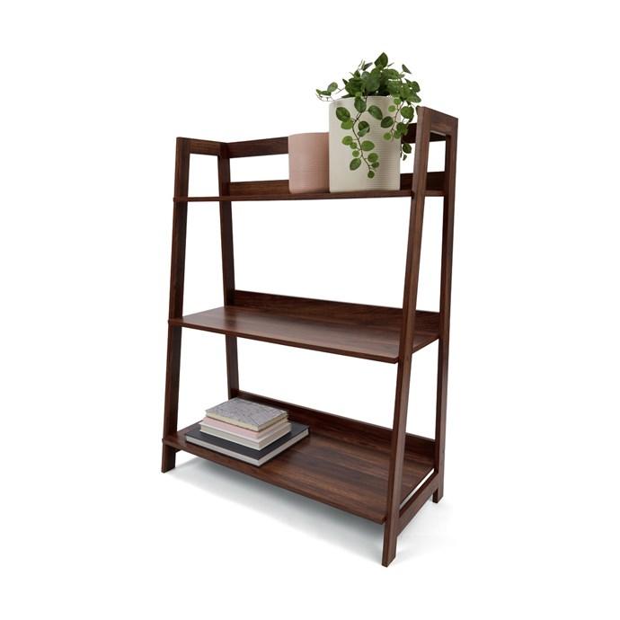 "Walnut look [bookshelf](https://www.kmart.com.au/product/walnut-look-bookshelf/2335312|target=""_blank""|rel=""nofollow""), $35."