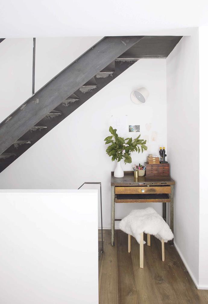 "**Staircase** Little surprises emerged from moving the staircase to the opposite wall of the building. ""It created this unplanned little nook underneath the stair on the ground floor where our daughter draws,"" says Aniket."