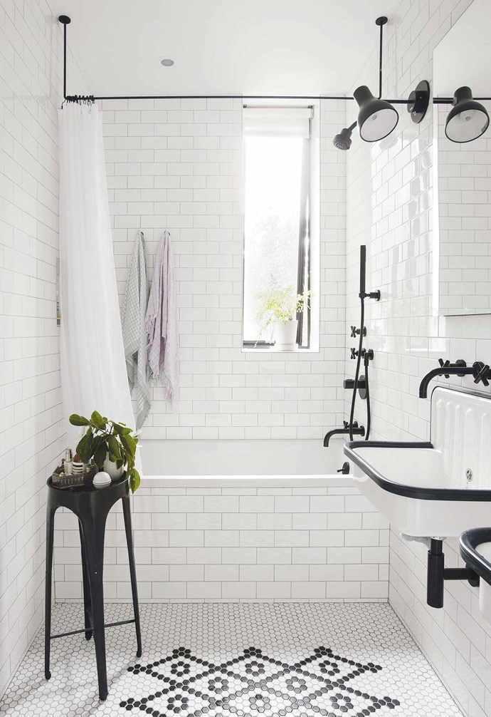 "**Kids bathroom** Hanging the towels above the bath frees room in the main area. Lights, Anglepoise, [Cult Design](https://cultdesign.com.au/|target=""_blank""