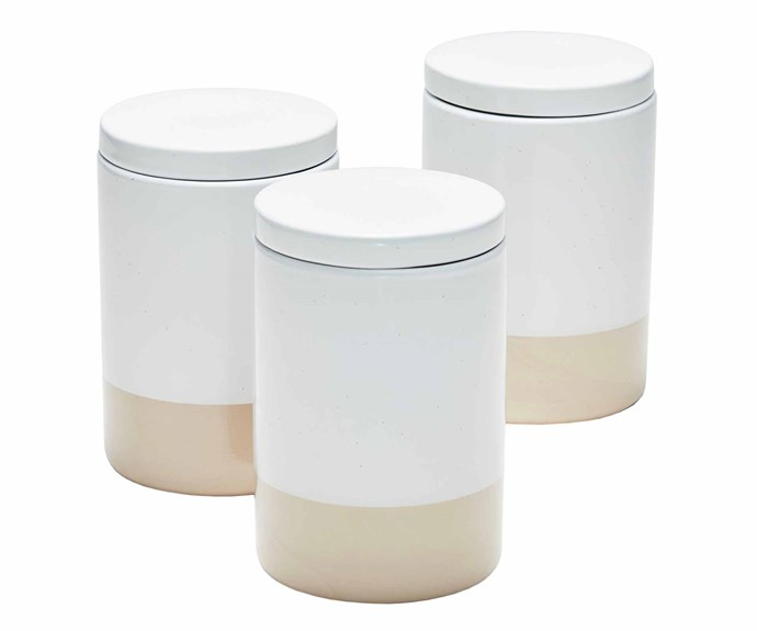 "**Jars and cannisters** Salt & Pepper 'Primal' stoneware canisters, $49.95/set of 3, [Temple & Webster](https://www.templeandwebster.com.au/|target=""_blank""
