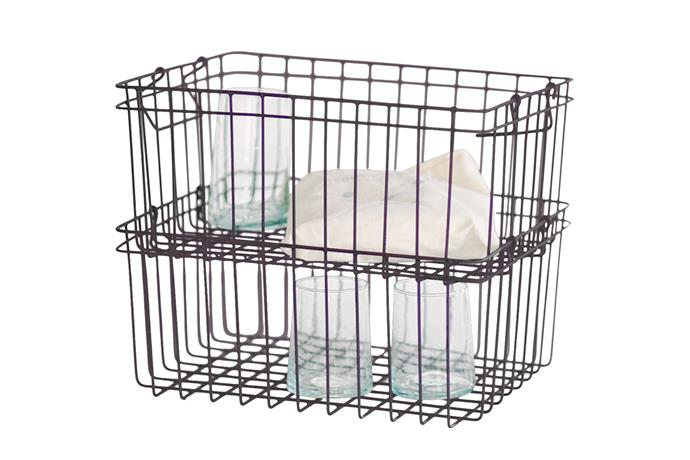 "**Pantry basket** Fog Linen stacking basket, NZ$55, [Father Rabbit](https://fatherrabbit.com/|target=""_blank""