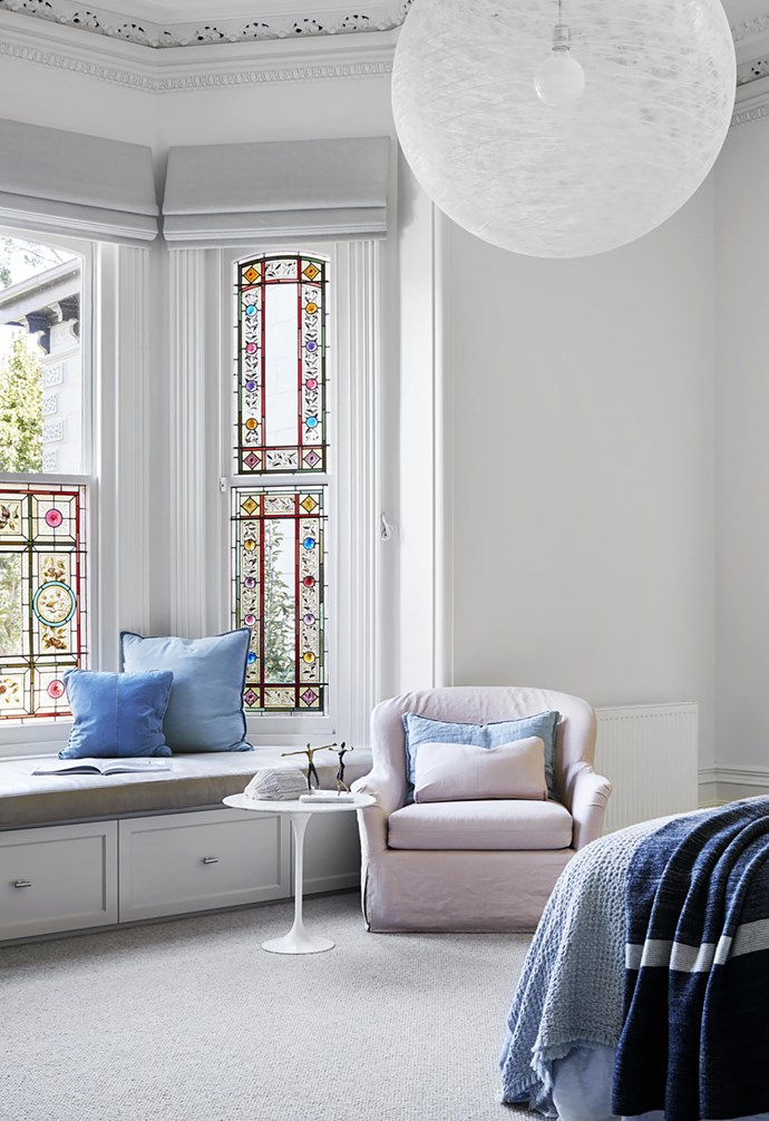 Kathryn Robson and Chris Rak were selected to blend an ultra-modern pavilion with an 1880s Victorian property in Melbourne. The main bedroom encompasses the spirit of the existing heritage home with a modern twist. *Photograph*: Shannon McGrath   *Styling*: Swee Lim.
