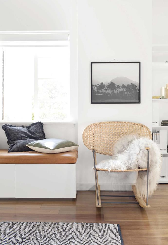 """**Living area** An IKEA 'Grönadal' chair and Luumo sheepskin offer another cosy seating spot. The print is from photographer Françoise's Kaua'i serie. Cushion 'Chelsea', [Eadie Lifestyle](https://www.eadielifestyle.com.au/ target=""""_blank"""" rel=""""nofollow"""")."""