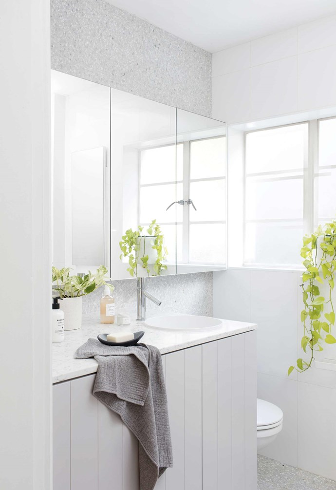 """**Bathroom** Françoise and Matt didn't compromise here, selecting a Milli 'Pure' mixer from Reece, an Alape 'Unisono' basin and a Caesarstone benchtop in White Attica. """"I saved some money by using the same stone as in the kitchen, so the same slab could be used,"""" says Françoise. Tiles, [Onsite Supply + Design](http://onsitesd.com.au/