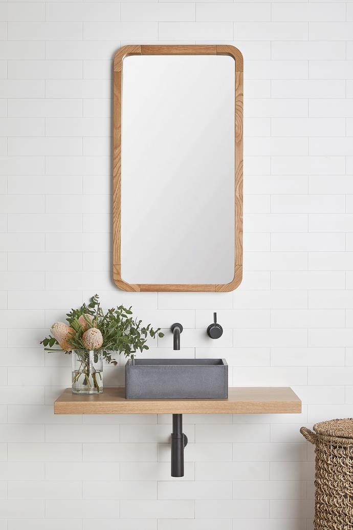 The Bombo Powder Room Vanity Shelf, from $792, from Loughlin Furniture is perfect for small bathrooms or powder rooms.