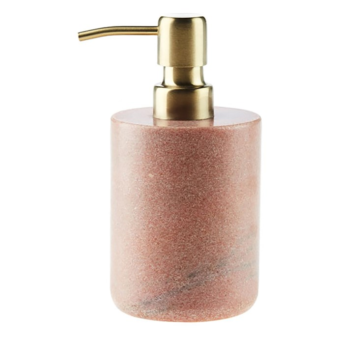 """Linen House Marble soap dispenser in Pink, $36.95, [Zanui](https://fave.co/2AIGGRd