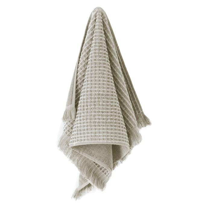 "Aura By Tracie Ellis Waffle Towel in Natural, $19.95, [Zanui](https://fave.co/2AKzd42|target=""_blank""