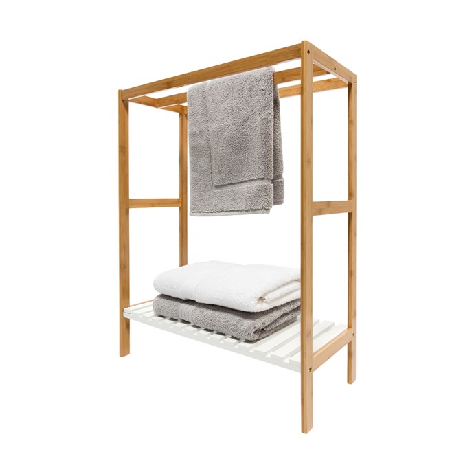 """Towel Rail with Bamboo Frame, $25, [Kmart](https://www.kmart.com.au/product/towel-rail-with-bamboo-frame/1344888