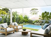 Bare backyard transformed into a contemporary coastal garden