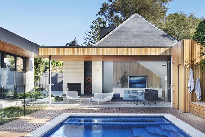 Kathryn Robson and Chris Rak were selected to marry a contemporary extension with an existing 1880s Victorian home. They added a new pool cabana extension which acts as an indoor-outdoor entertainment space. *Photograph*: Shannon McGrath | *Styling*: Swee Lim. From *Belle* February/March 2019.