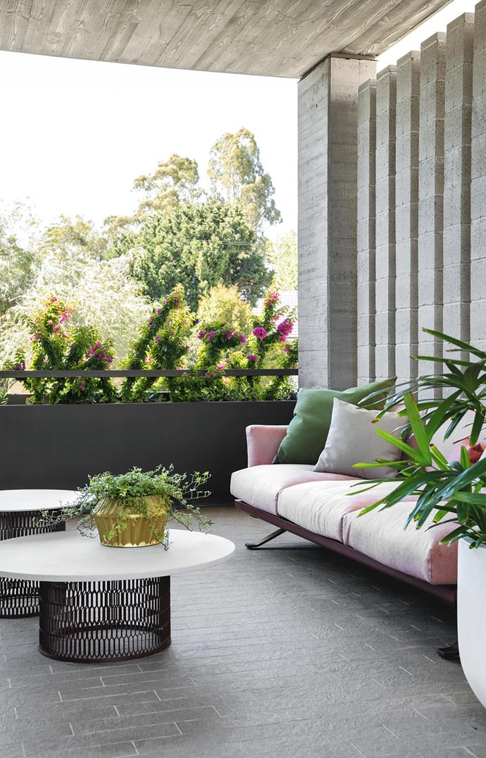 For the owners of this Perth home designed by architect Neil Cownie, creating a connection to the outdoor spaces was essential. To maximise this, a roof terrace was created that sits off the master bedroom on the second floor. *Photograph*: Jody Darcy | *Styling*: Lucy McCabe. From *Belle* February/March 2019.