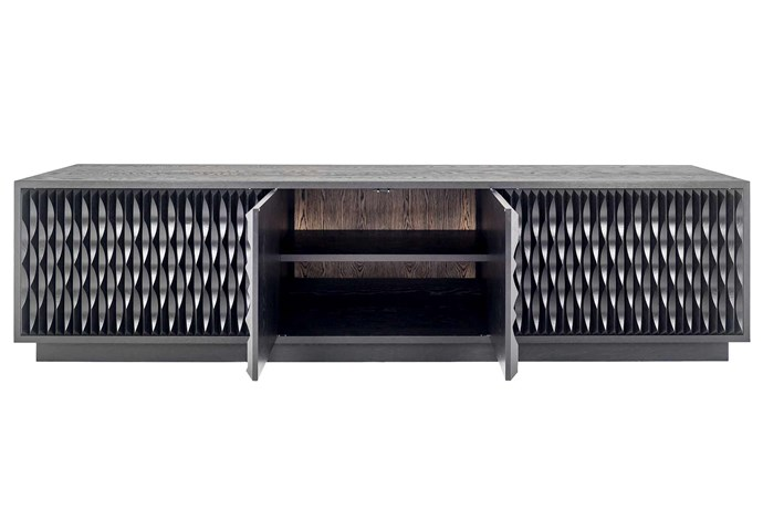 **Tim Noone** This ebonised oak credenza features immaculate detailing in the cabinetry. *Photography: Guy Wilkinson*.