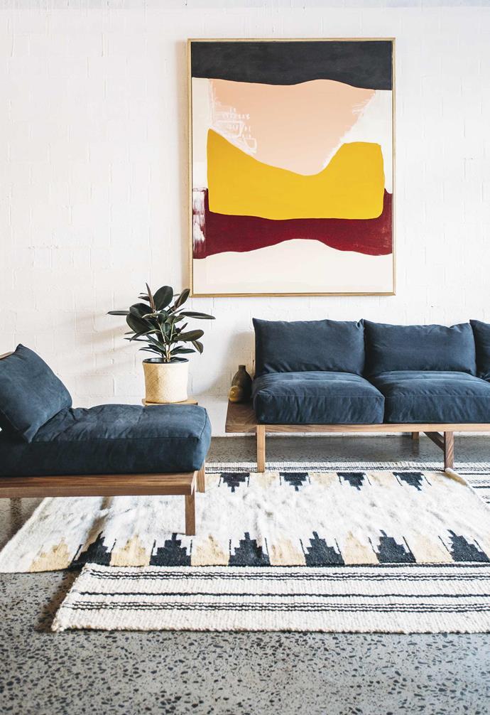 **Jeremy Lee** Here, the 'Finlay' sofa set is upholstered in Green. *Artwork: Jordana Jenry (@jordi_pordi)   Photography: Jack Bussell*.