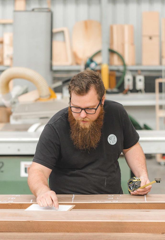 **Matt Pearson** Matt Pearson hard at work in his Adelaide studio. *Photography: Wilson & Lewis Photography.*