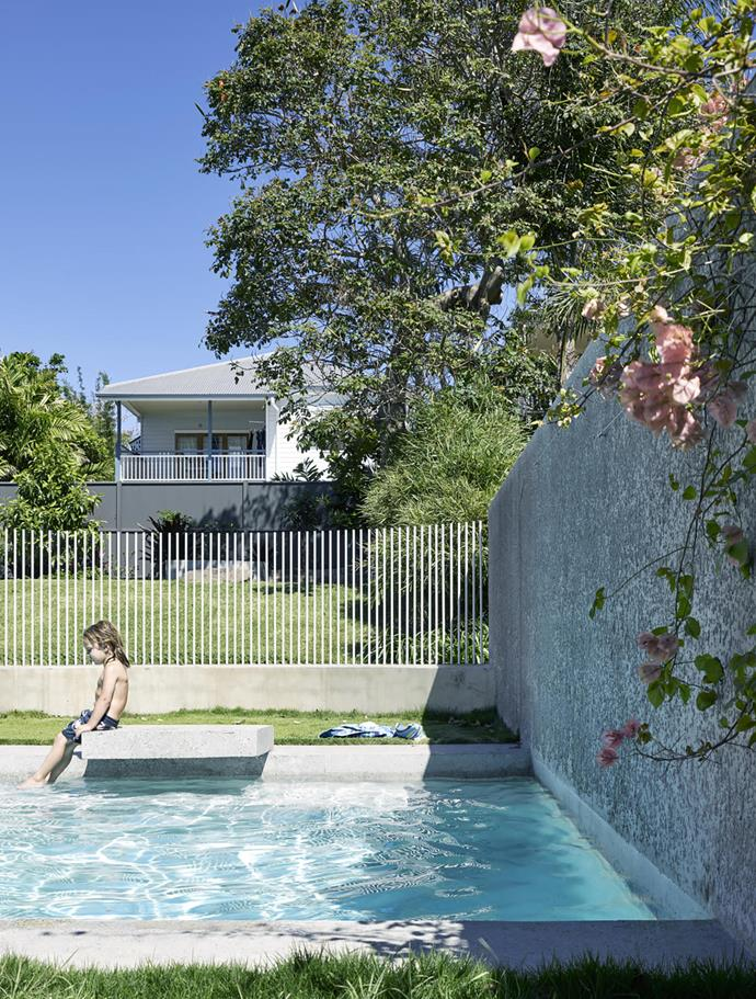 Kieron Gait Architects designed this pool in conjunction with a garden pavilion for a Brisbane home. The small cantilivered platform makes the perfect launchpad for little swimmers.