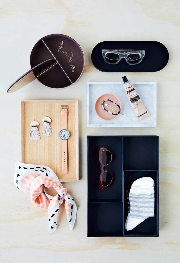 """**Get the look** (clockwise from top left) AYTM 'Gutta' jewellery box, $180, [Top3 By Design](http://top3.com.au/ target=""""_blank"""" rel=""""nofollow""""). 'Kye' tray, $29.95, [Country Road](https://www.countryroad.com.au/ target=""""_blank"""" rel=""""nofollow""""). Acne Studios sunglasses, $460, [Incu](https://www.incu.com/ target=""""_Blank"""" rel=""""nofollow""""). 'Loft' tray, $59.95, and 'Jemima' oval clip, $29.95, [Country Road](https://www.countryroad.com.au/ target=""""_blank"""" rel=""""nofollow""""). 'Fullfölja' box insert, $7.99, [IKEA](https://www.ikea.com/au/en/ target=""""_blank"""" rel=""""nofollow""""). 'Poppy' sunglasses, $129, and 'Angle Stripe' scarf, $49.95, [Country Road](https://www.countryroad.com.au/ target=""""_blank"""" rel=""""nofollow""""). Studio Elke 'Gravity' tassel earrings, $150, [Collector Store](https://www.collectorstore.com.au/ target=""""_blank"""" rel=""""nofollow""""). 'Park Clock' watch, $319, [Muji](https://www.muji.com/au/ target=""""_blank"""" rel=""""nofollow"""")."""