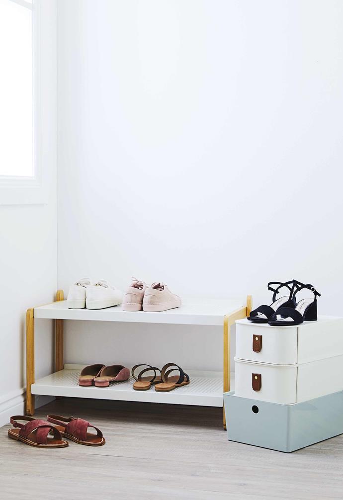"**Get the look** Normann Copenhagen 'Sko' shoe rack, $440, [Top3 By Design](http://top3.com.au/|target=""_blank""|rel=""nofollow""). *On top shelf, from left*: Spring Court sneakers, $220, [Jac+ Jack](https://www.jacandjack.com/|target=""_blank""|rel=""nofollow""). Common Projects 'Woman Achilles Low' sneakers, $490, [Incu](https://www.incu.com/|target=""_Blank""|rel=""nofollow""). *On bottom shelf, from left*: 'Brianna' mules, $149, and 'Monroe' slides, $79.95, [Country Road](https://www.countryroad.com.au/|target=""_blank""|rel=""nofollow""). K Jacques 'Osorno' sandals (on floor), $330, [Incu](https://www.incu.com/|target=""_Blank""|rel=""nofollow""). 'The Milan' shoe storage boxes, $48 each, [Sagitine](https://www.sagitine.com/|target=""_blank""|rel=""nofollow""). 'Kuggis' storage box, $12.99, [IKEA](https://www.ikea.com/au/en/|target=""_blank""|rel=""nofollow""). 'Block' heel sandals (on box), $59.95, [Zara](https://www.zara.com/au/|target=""_blank""|rel=""nofollow"")."