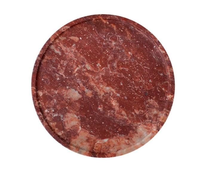 """**Jewellery storage** Addition Studio tray in Red Marble, $69.90, [Top3 By Design](http://top3.com.au/ target=""""_blank"""" rel=""""nofollow"""")."""