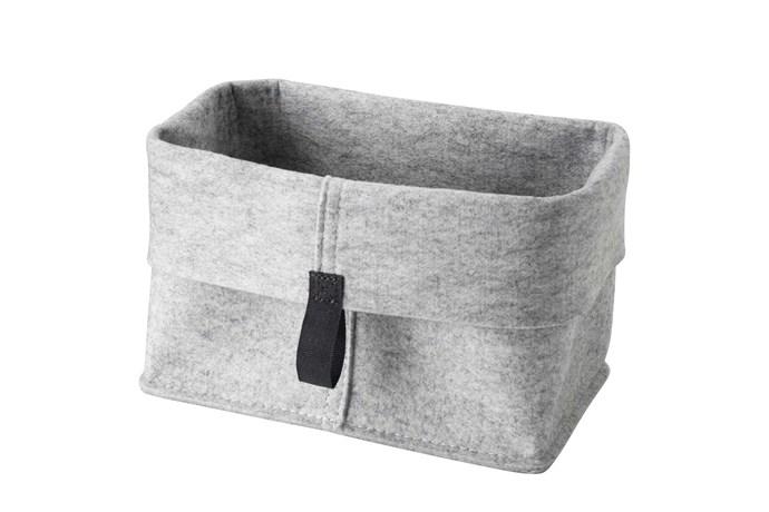 """**Shoe storage** 'Raggisar' basket (part of a set), $7.99/set of 3, [IKEA](https://www.ikea.com/au/en/ target=""""_blank"""" rel=""""nofollow"""")."""