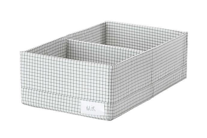 "**Compartment storage**. 'Stuk' box (with compartments), $4.99, [IKEA](https://www.ikea.com/au/en/|target=""_blank""|rel=""nofollow"")."