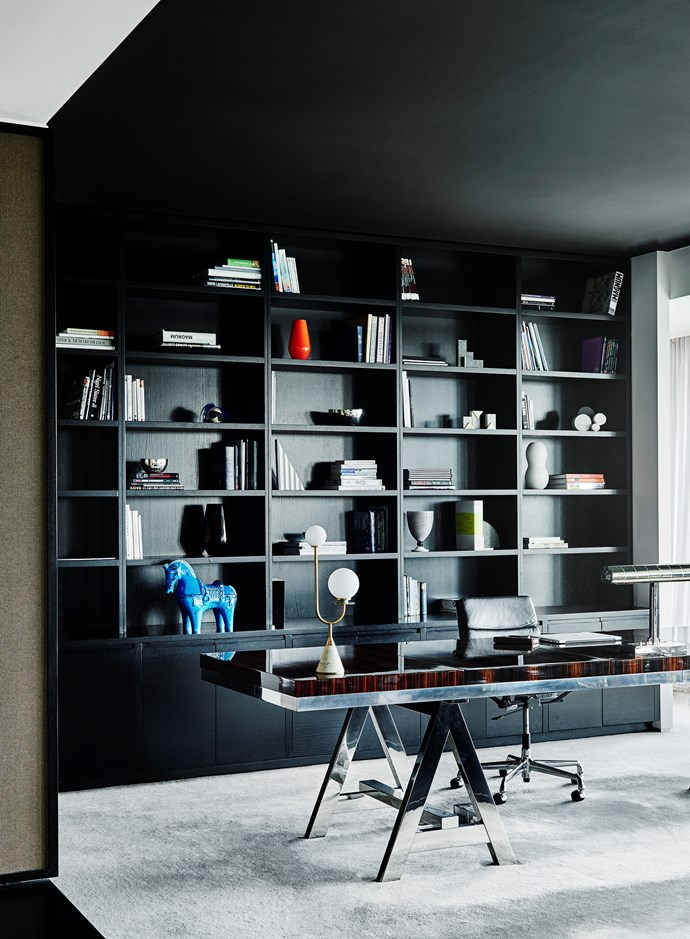 Designer Kimberley-jade Bawden endowed this sleek study space with a sophisticated and elegant aesthetic. *Photograph*: Lisa Cohen | *Styling*: Jack Milenkovic. From *Belle* February/March 2019.