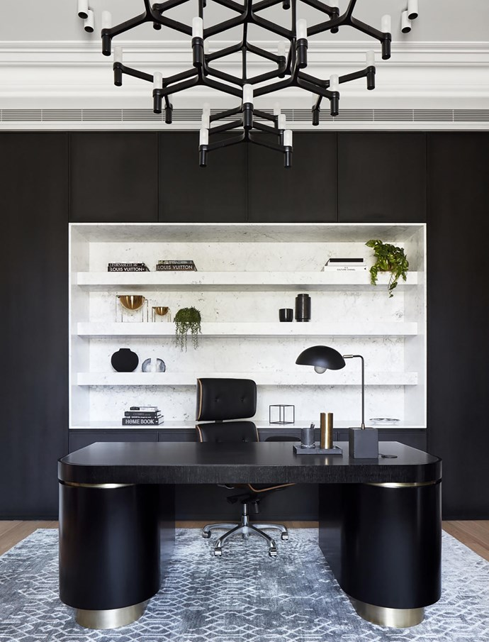"""A cool, contemporary aesthetic prevails in the office of this bold [19th century home](https://www.homestolove.com.au/two-storey-victorian-home-with-edgy-interior-melbourne-19201